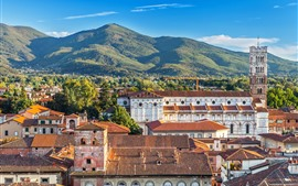 Italy, city, houses, roof, mountains
