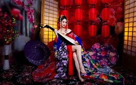 Menina japonesa, kimono, pipa, lanternas, guarda-chuva, quarto