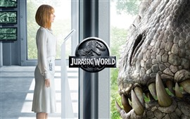 Preview wallpaper Jurassic World, blonde girl and dinosaurs