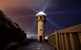 Preview wallpaper Lighthouse, light rays, night, path