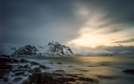 Preview wallpaper Lofoten, Norway, sea, snow, mountains, clouds, winter