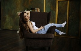 Preview wallpaper Long hair smile girl, sit on chair