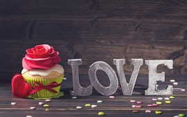 Preview wallpaper Love, cupcake, love hearts, red rose