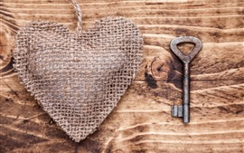 Preview wallpaper Love heart, rope, key