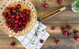 Preview wallpaper Many red cherries, basket, fruit
