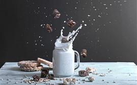 Preview wallpaper Milk, splash, cookies