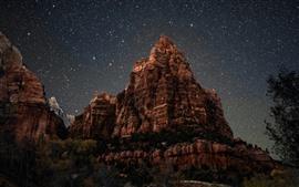 Aperçu fond d'écran Montagne, étoilé, ciel, nuit