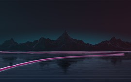 Mountains, lake, light lines, night, creative picture