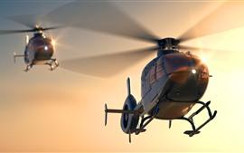 Helicóptero multiuso, madrugada, sol