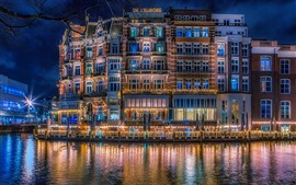 Preview wallpaper Netherlands, Amsterdam, city night, houses, river, lights