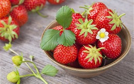 Preview wallpaper One bowl of ripe strawberry, delicious fruit
