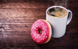 Preview wallpaper One cup of coffee and donut