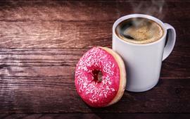 Vorschau des Hintergrundbilder Eine Tasse Kaffee und Donut