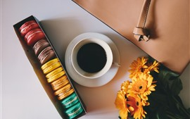 Preview wallpaper One cup of coffee, colorful macarons, yellow flowers