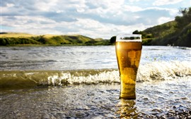Preview wallpaper One glass cup of beer, sea, water