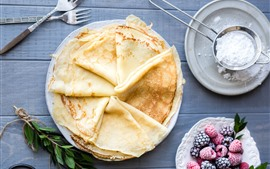 Preview wallpaper Pancakes, berries, forks