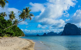 Filipinas, praia, palmeiras, montanhas, mar