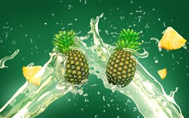 Preview wallpaper Pineapples, water splash, art picture