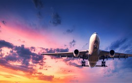 Avião, vôo, céu, nuvens, pôr do sol