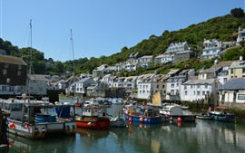 Preview wallpaper Polperro village, England, Cornwall, houses, boats, pier