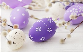 Preview wallpaper Purple Easter eggs, festival, twigs