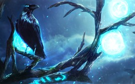 Preview wallpaper Raven, tree, night, lights, art picture