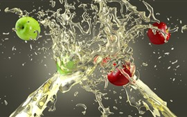 Preview wallpaper Red and green apples, water splash, creative picture