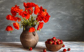 Preview wallpaper Red poppy flowers, vase, a bowl of strawberry