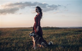 Preview wallpaper Red skirt girl and dog, meadow