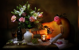 Preview wallpaper Rose and lily, vase, wine, guitar, music score, still life