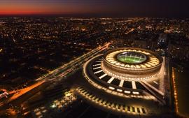 壁紙のプレビュー ロシア、クラスノダール、スタジアム、トップビュー、都市、夜