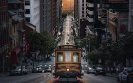 Preview wallpaper San Francisco, city, street, tram, USA