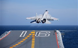 Preview wallpaper Shenyang J-15 fighter take off from carrier