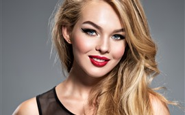 Preview wallpaper Smile blonde girl, blue eyes, red lip, makeup