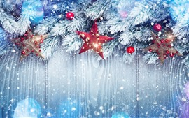 Preview wallpaper Stars, twigs, snow, Christmas balls, decoration, shine