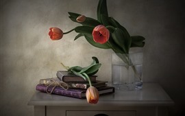 Preview wallpaper Still life, books, tulips, desktop