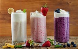 미리보기 배경 화면 3 잔의 칵테일, 크림, 딸기