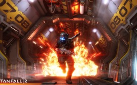 Preview wallpaper Titanfall 2, explosion, soldier, run