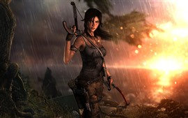 Preview wallpaper Tomb Raider, Lara Croft, rain, sunset, sea