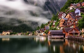Preview wallpaper Travel to Hallstatt, Austria, lake, houses, fog, morning
