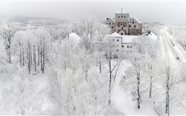 Preview wallpaper Turku in the winter, snow, trees, city, white world, Finland