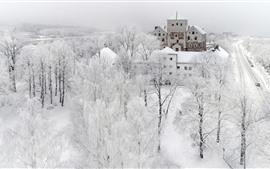 Turku no inverno, neve, árvores, cidade, mundo branco, Finlândia