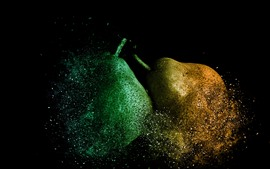 Two pears dissolve, creative picture