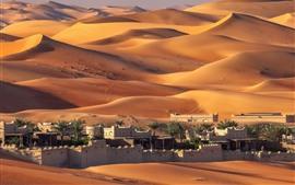 壁紙のプレビュー アラブ首長国連邦、アブダビ、住宅、砂漠
