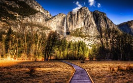Preview wallpaper USA, park, mountains, trees, waterfall, HDR style