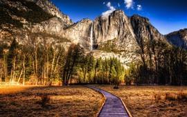 EUA, parque, montanhas, árvores, cachoeira, estilo HDR