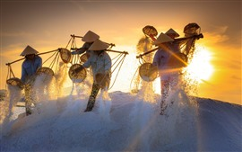 Preview wallpaper Vietnam, people, salt, sunset, worker