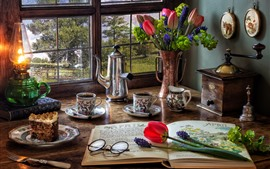 Preview wallpaper Windowsill, tulips, cake, glasses, book, lamp, still life