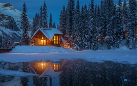 Yoho National Park at winter, night, hut, lights, lake, trees, snow, Canada