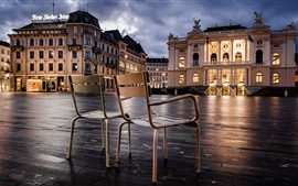 Preview wallpaper Zurich, Switzerland, chairs, lights, city, buildings